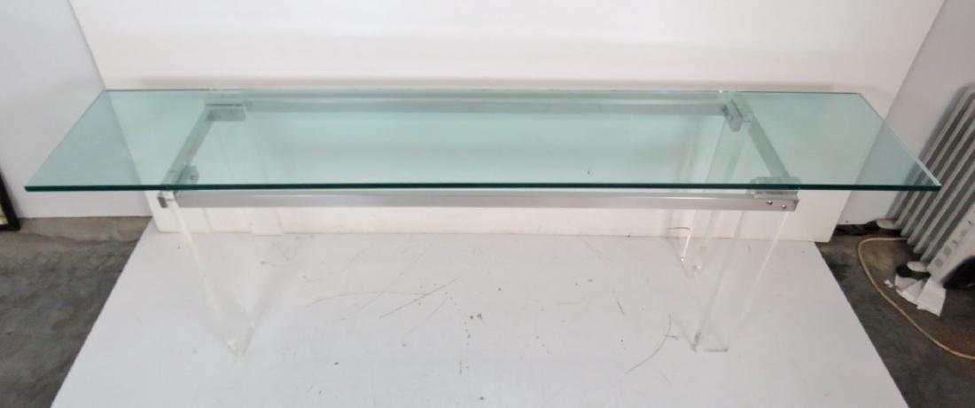VLADIMIR KAGAN DESIGN LUCITE & ALUMINUM GLASSTOP TABLE - 5