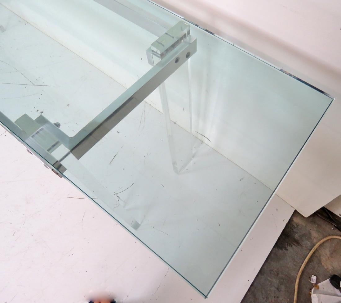 VLADIMIR KAGAN DESIGN LUCITE & ALUMINUM GLASSTOP TABLE - 6