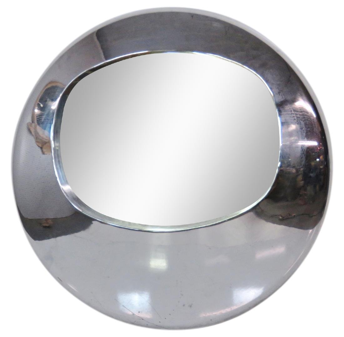 MID CENTURY MODERN CHROME ORB MIRROR manner of RON ARAD