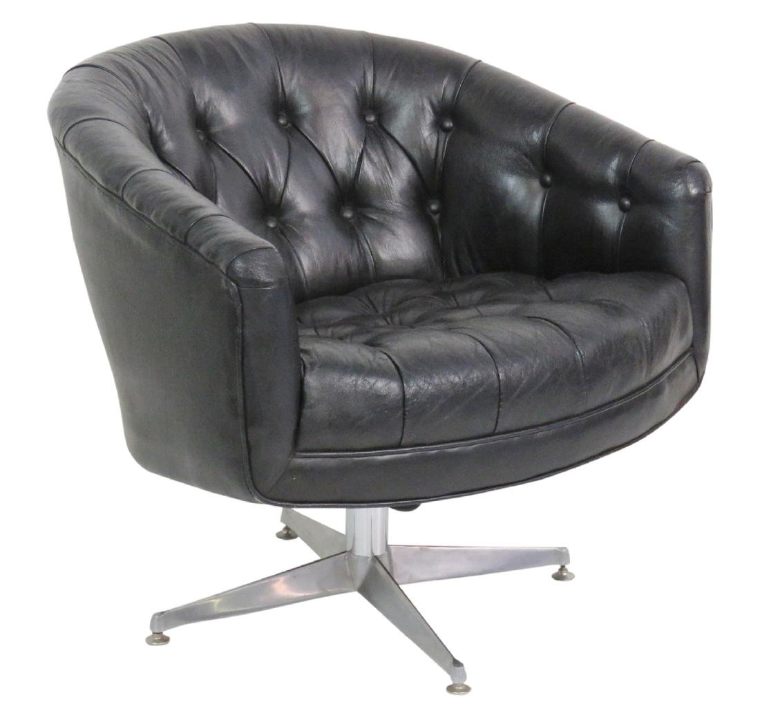 MILO BAUGHMAN STYLE TUFTED LEATHER SWIVEL CHAIR