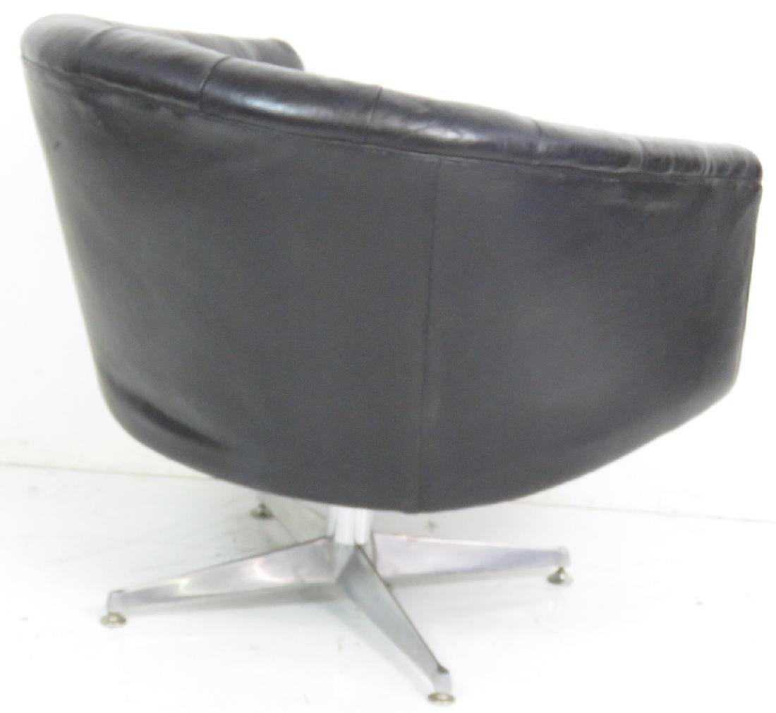 MILO BAUGHMAN STYLE TUFTED LEATHER SWIVEL CHAIR - 5