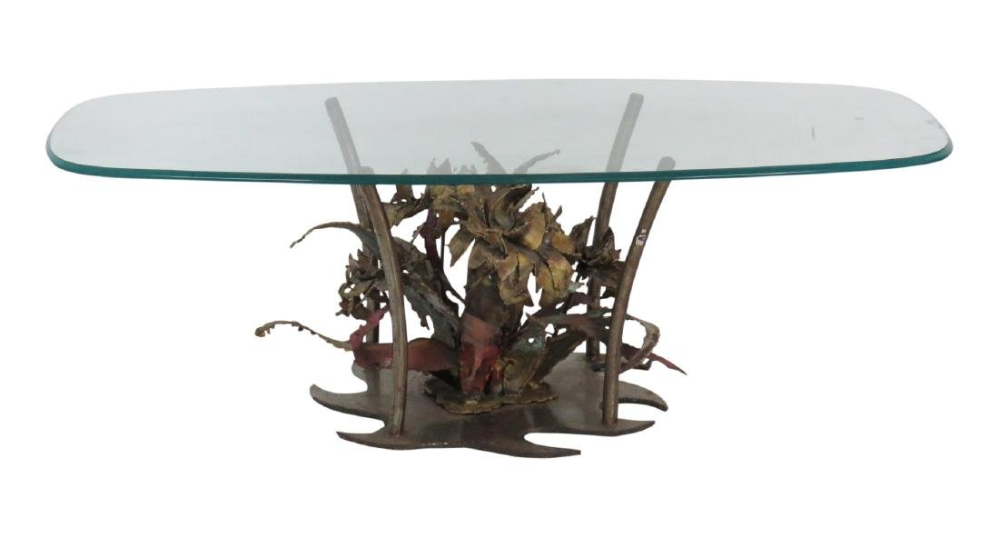 SILAS SEANDEL BRUTALIST GLASSTOP & COPPER COFFEE TABLE