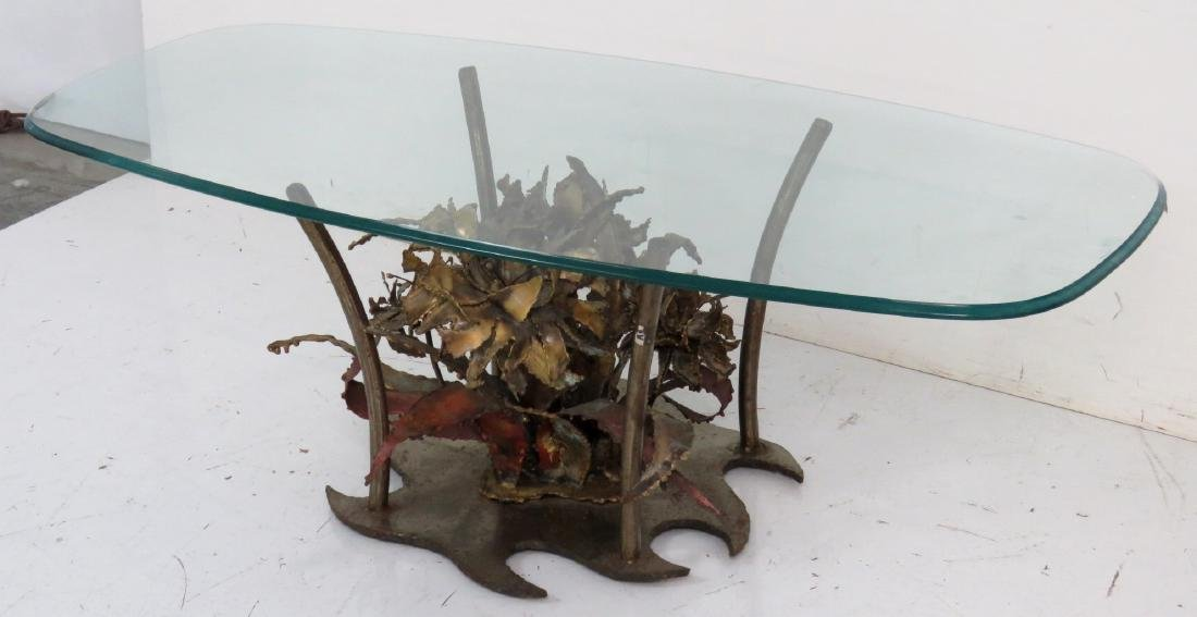 SILAS SEANDEL BRUTALIST GLASSTOP & COPPER COFFEE TABLE - 2