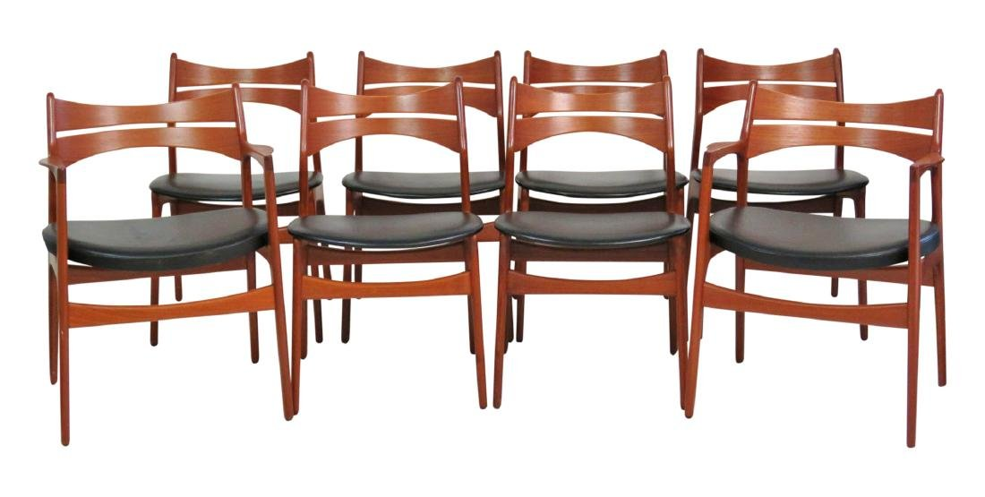 8 ERIC BUCK DANISH MODERN TEAK DINING CHAIRS