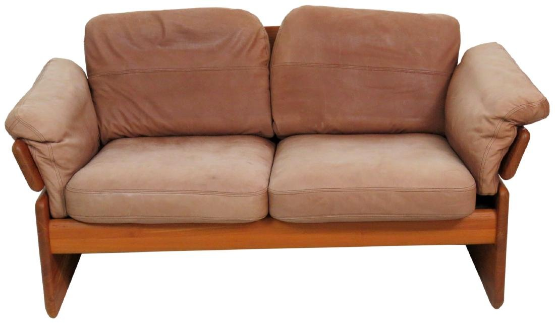 EMC MOBLER DANISH MODERN TEAK & LEATHER LOVESEAT