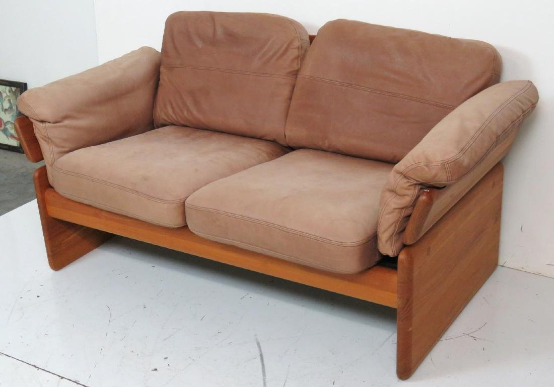 EMC MOBLER DANISH MODERN TEAK & LEATHER LOVESEAT - 2