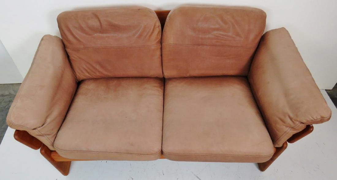 EMC MOBLER DANISH MODERN TEAK & LEATHER LOVESEAT - 4