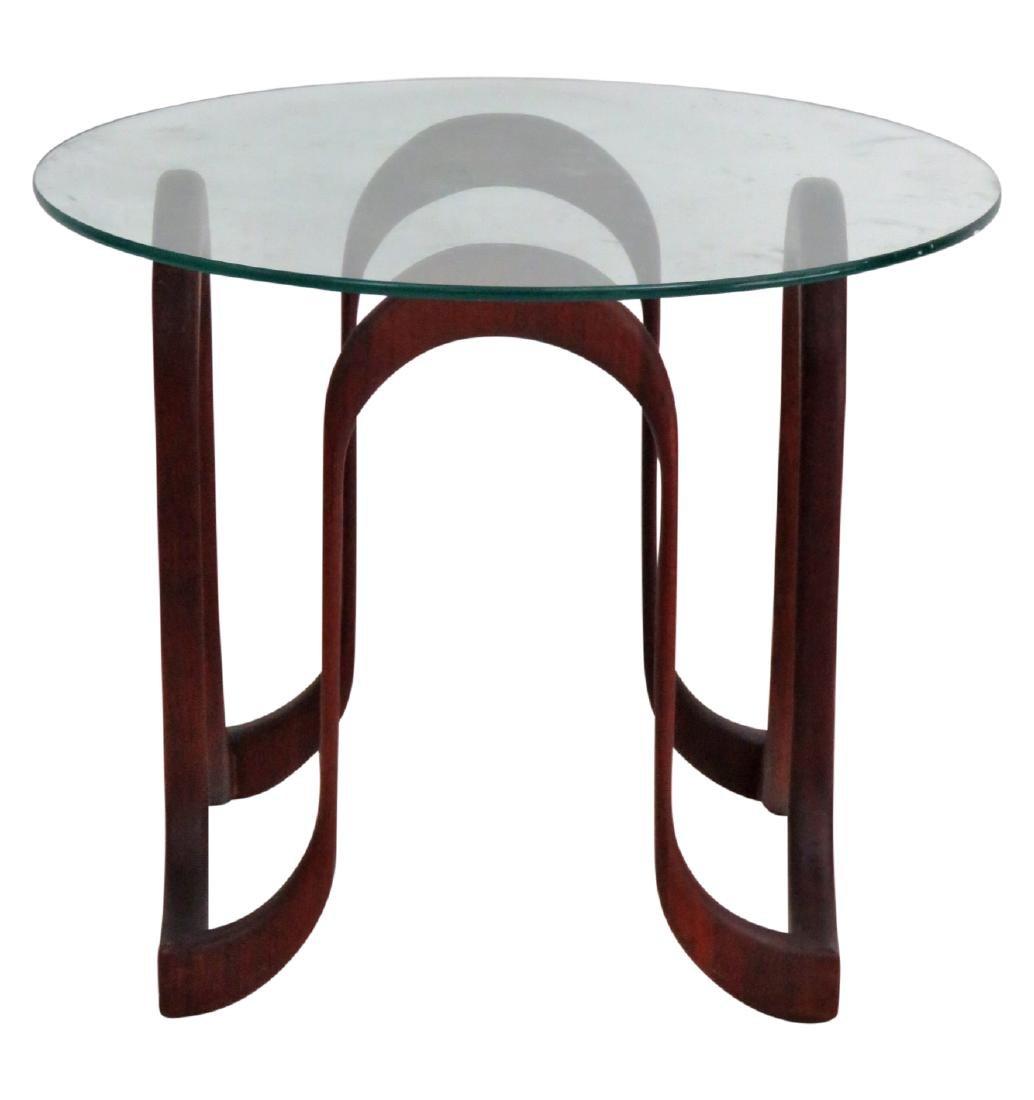 MODERN DANISH FREEFORM GLASSTOP SIDE TABLE