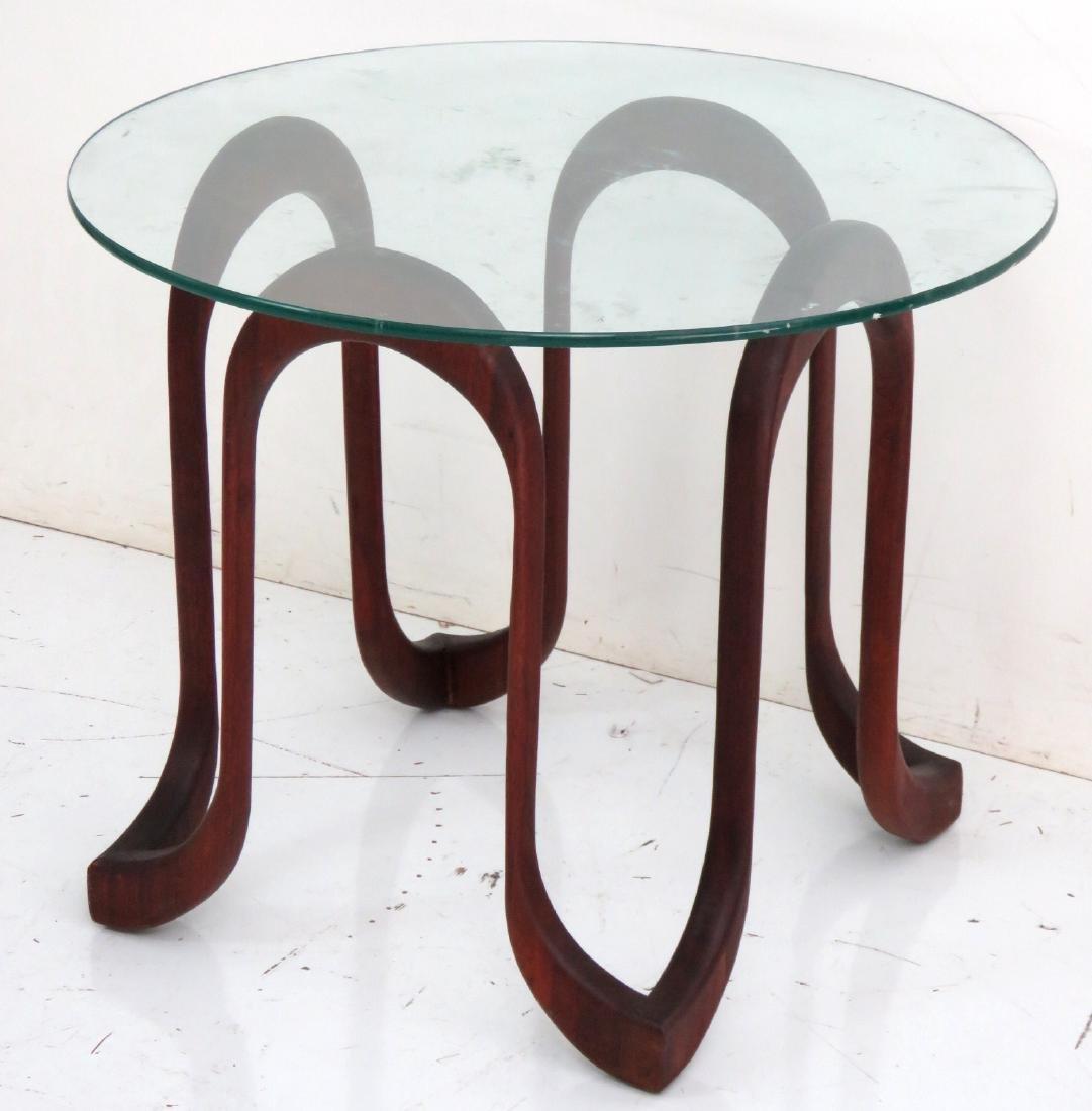 MODERN DANISH FREEFORM GLASSTOP SIDE TABLE - 2