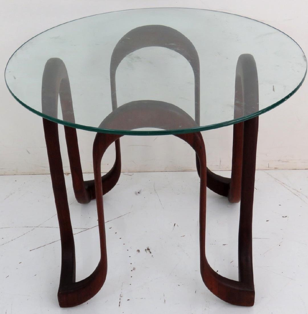 MODERN DANISH FREEFORM GLASSTOP SIDE TABLE - 3