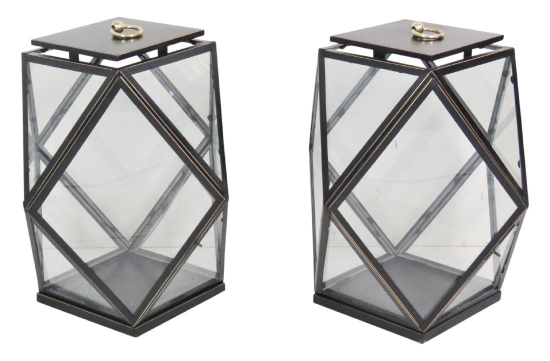 Pair EBONIZED GILT DIAMOND SHAPE HANGING LANTERNS