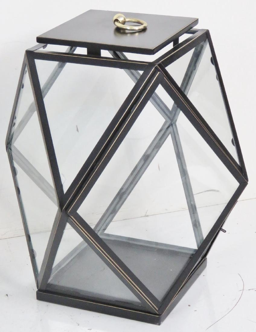 Pair EBONIZED GILT DIAMOND SHAPE HANGING LANTERNS - 2