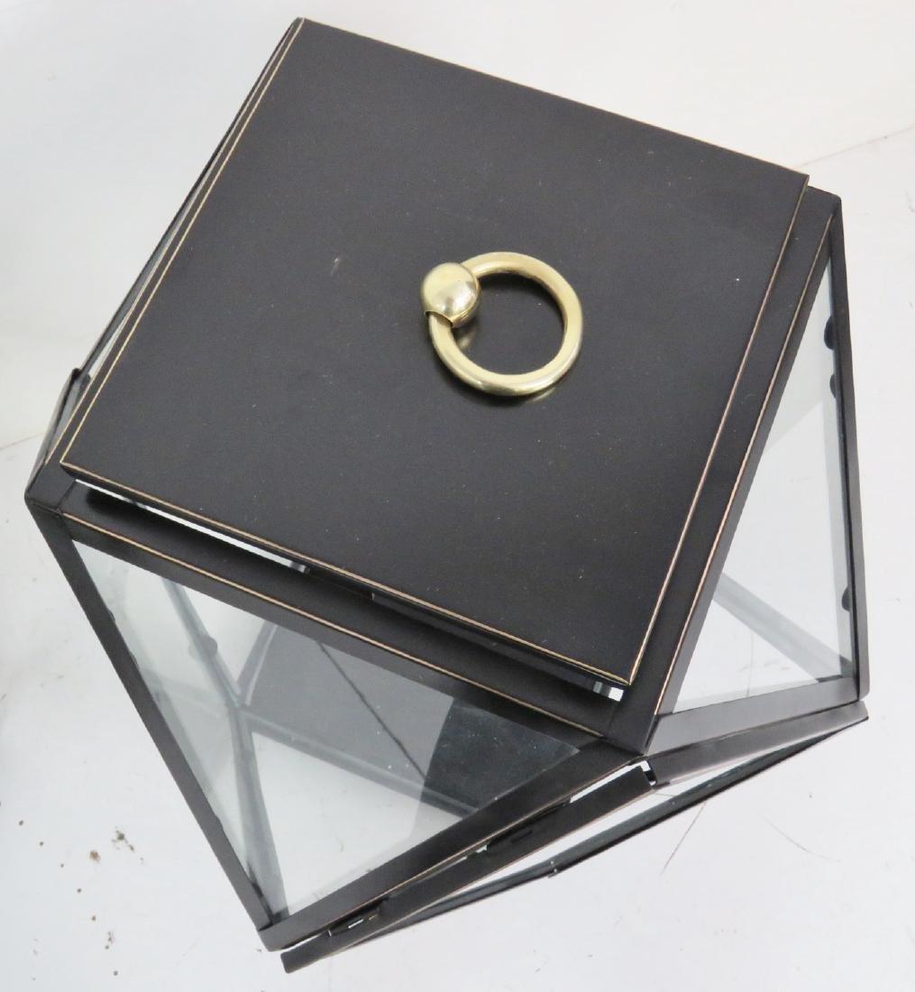 Pair EBONIZED GILT DIAMOND SHAPE HANGING LANTERNS - 3