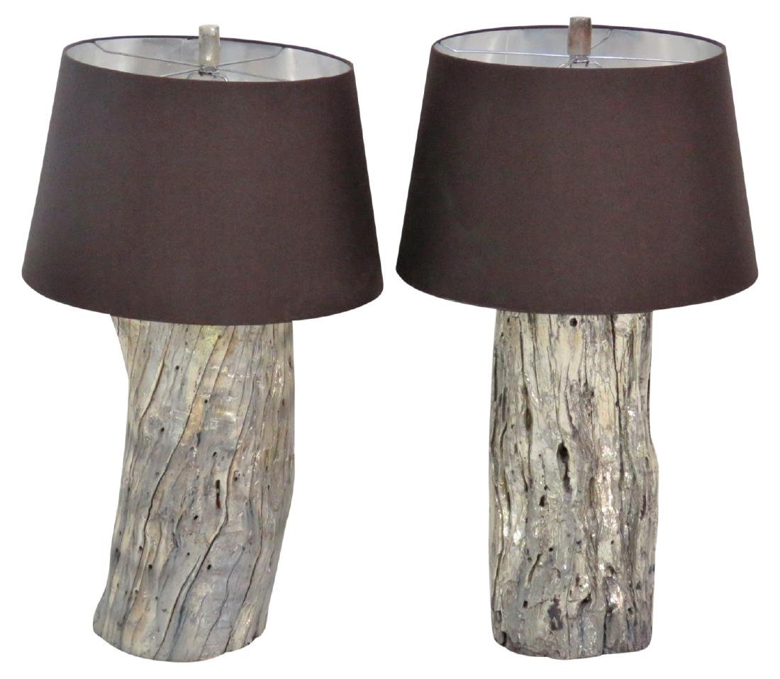 Pair MODERN DESIGN DISTRESSED SILVER TRUNK LAMPS