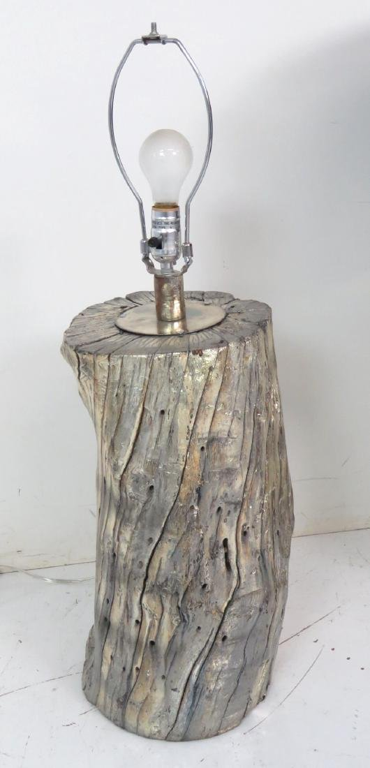 Pair MODERN DESIGN DISTRESSED SILVER TRUNK LAMPS - 5