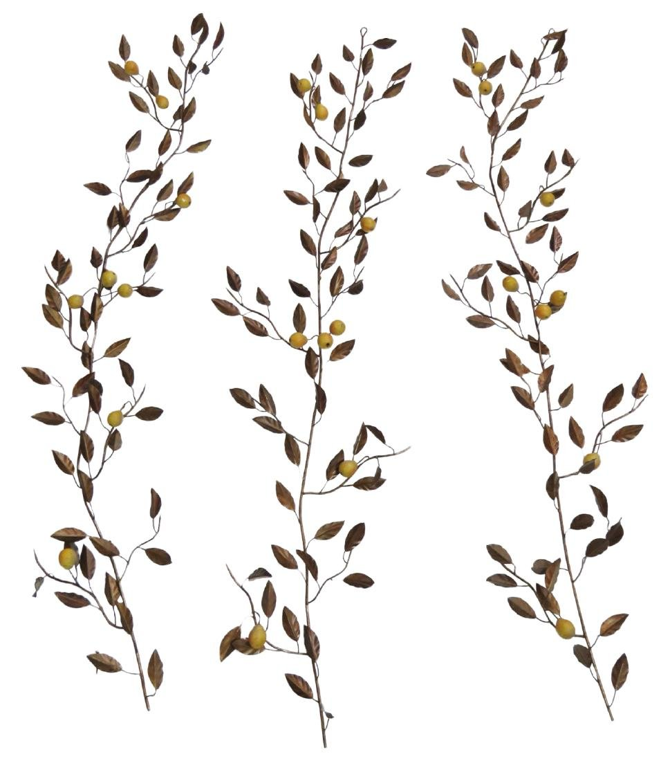 3 TOLE PAINTED HANGING WALL PEAR BRANCHES
