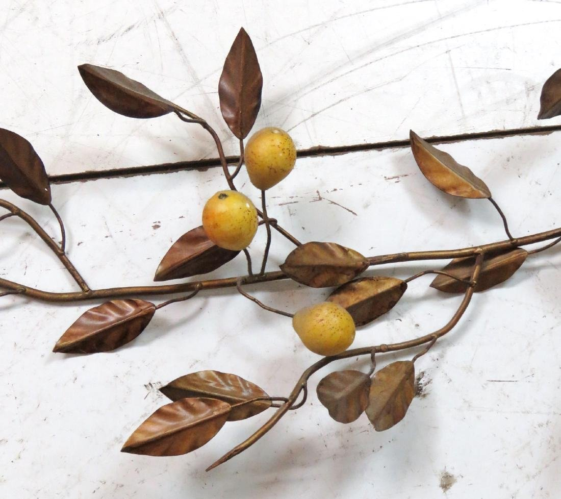 3 TOLE PAINTED HANGING WALL PEAR BRANCHES - 6