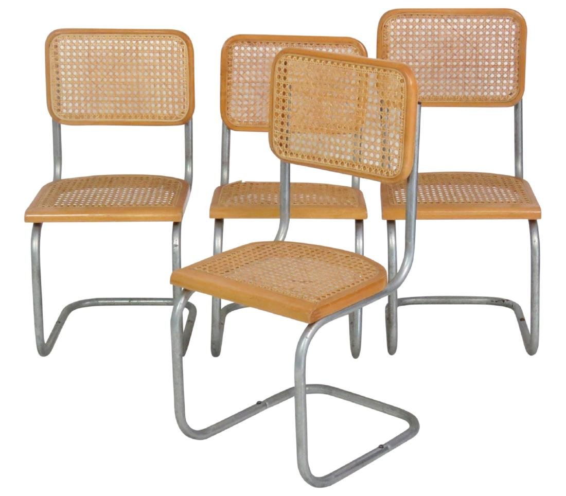 4 CANED & CHROME CHILD'S CHAIRS
