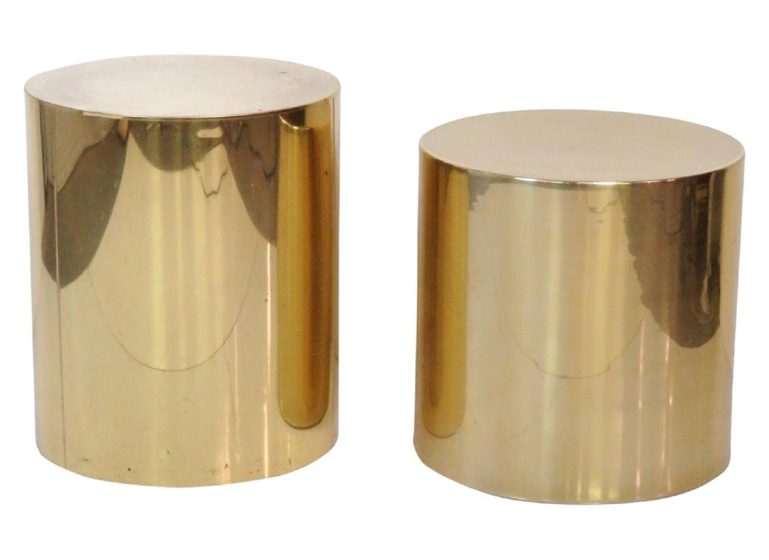 COMPANION Pair KARL SPRINGER STYLE CYLINDER TABLES