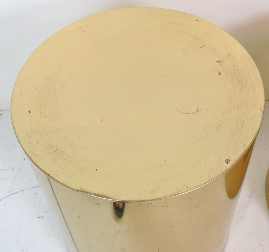 COMPANION Pair KARL SPRINGER STYLE CYLINDER TABLES - 4
