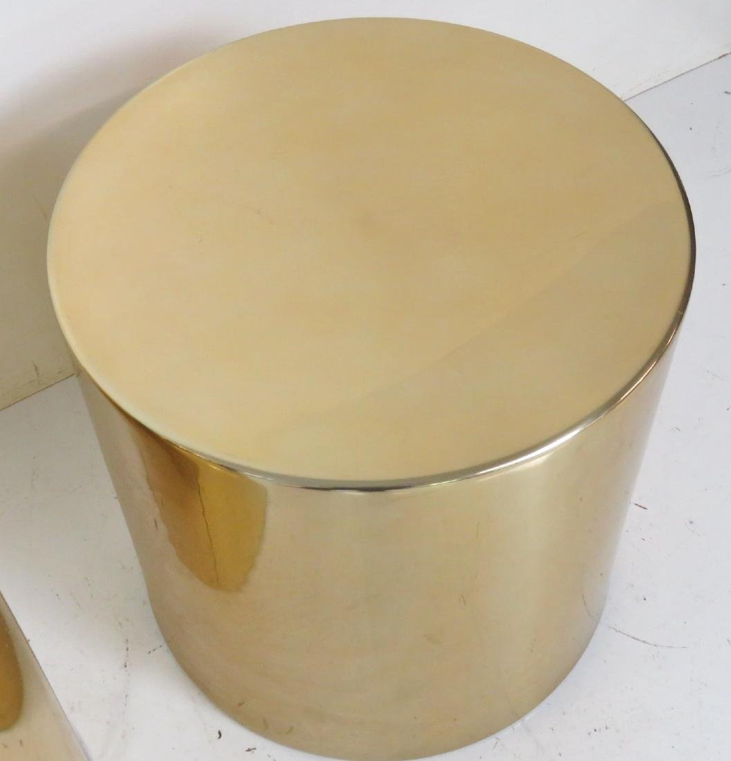 COMPANION Pair KARL SPRINGER STYLE CYLINDER TABLES - 5