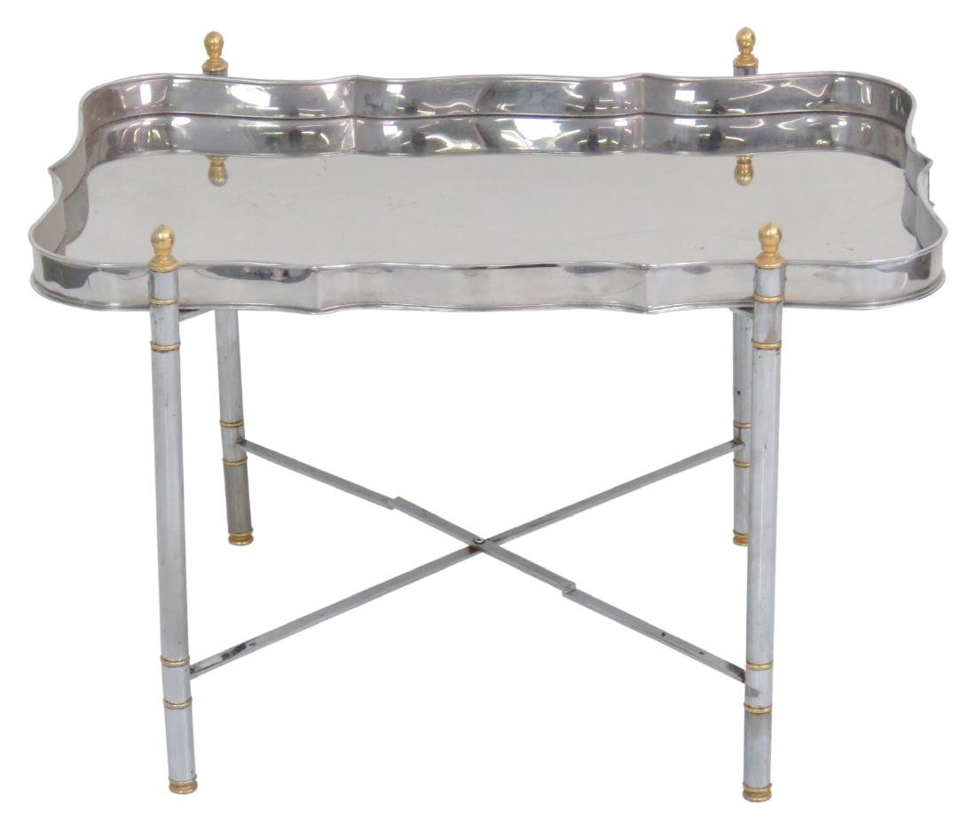 JANSEN STYLE CHROME & BRASS TRAY TOP TABLE