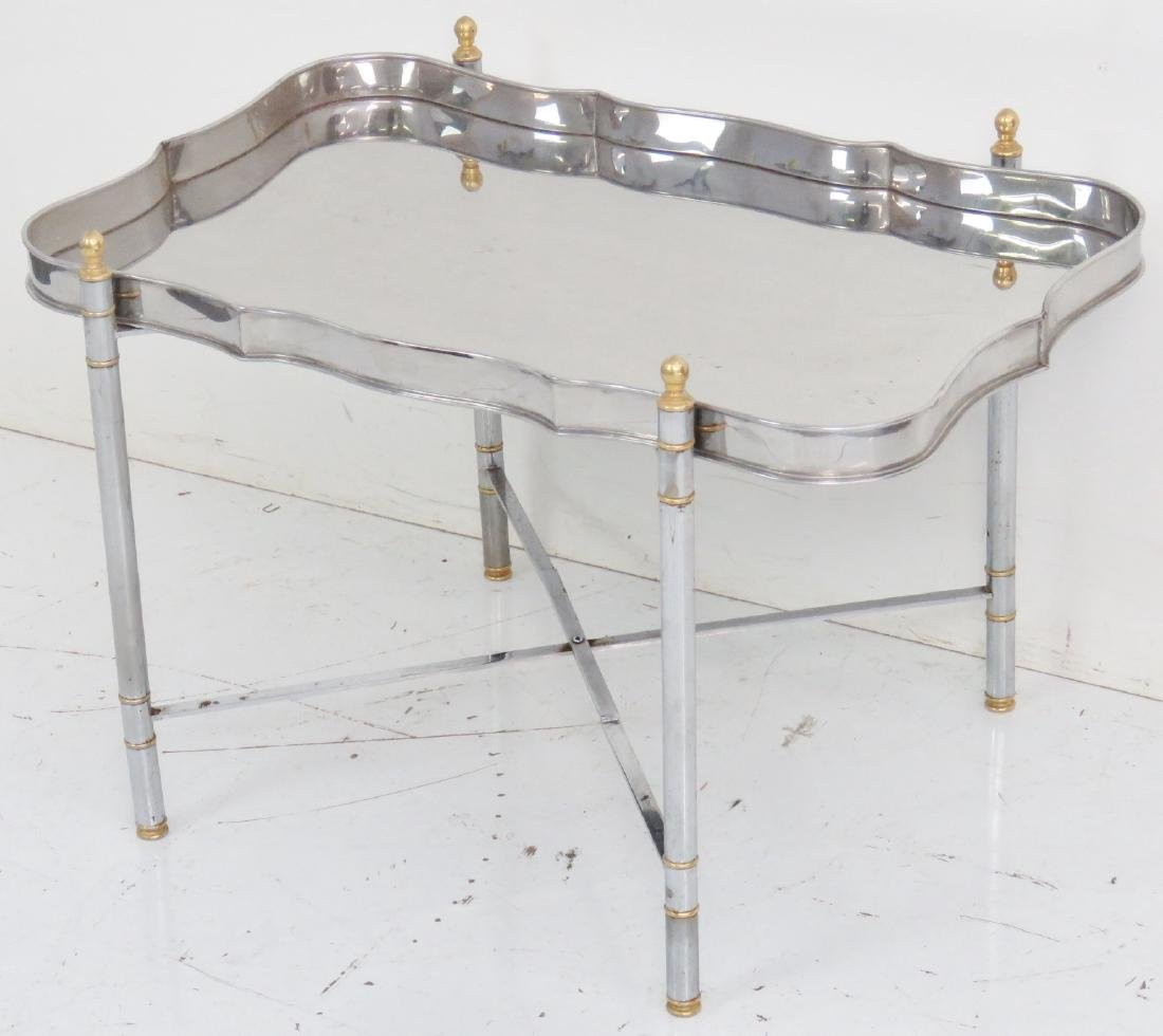 JANSEN STYLE CHROME & BRASS TRAY TOP TABLE - 2