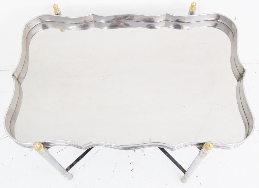 JANSEN STYLE CHROME & BRASS TRAY TOP TABLE - 4