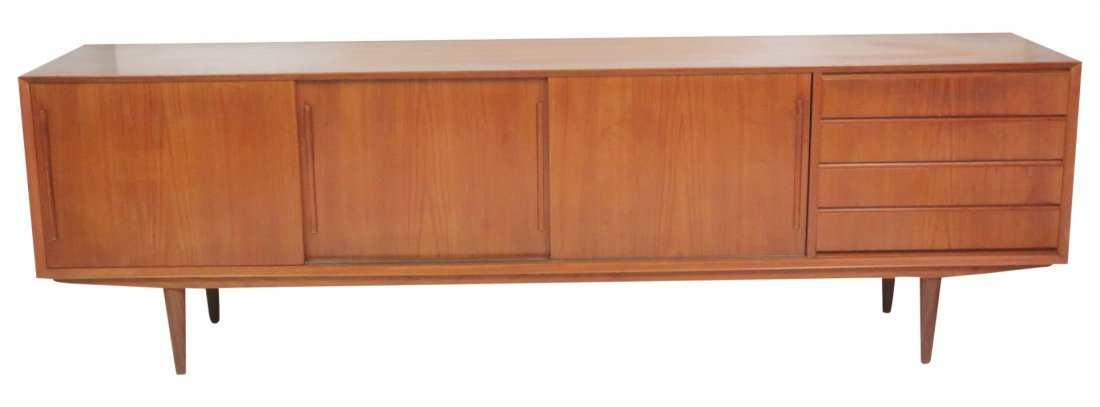 DANISH MODERN TEAK SLIDING DOOR SIDEBOARD