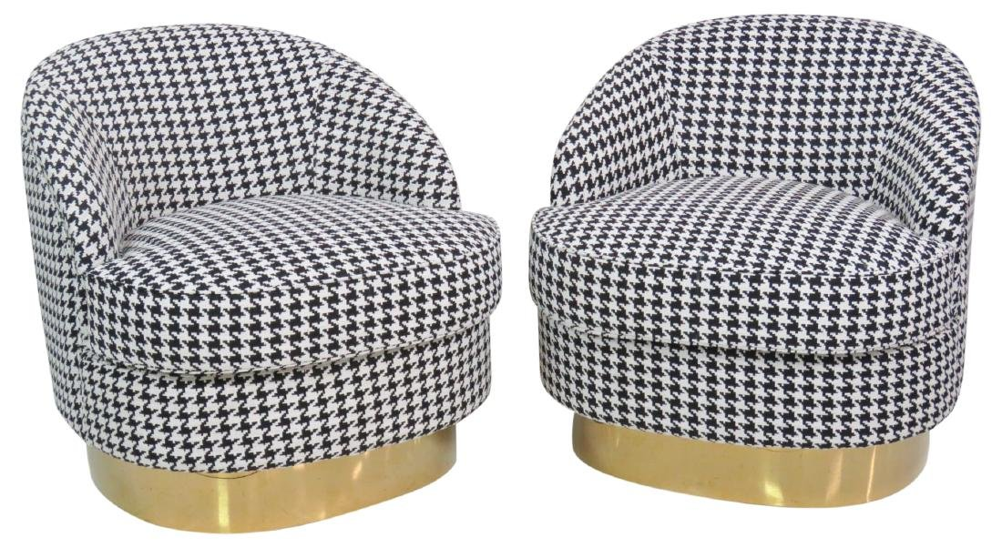 Pair HOUNDSTOOTH CLUB CHAIRS