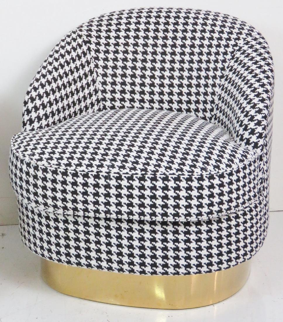 Pair HOUNDSTOOTH CLUB CHAIRS - 2