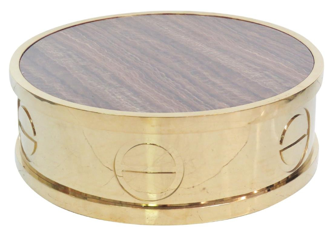 CARTIER STYLE BRASS & TIGER EYE DESIGN COFFEE TABLE