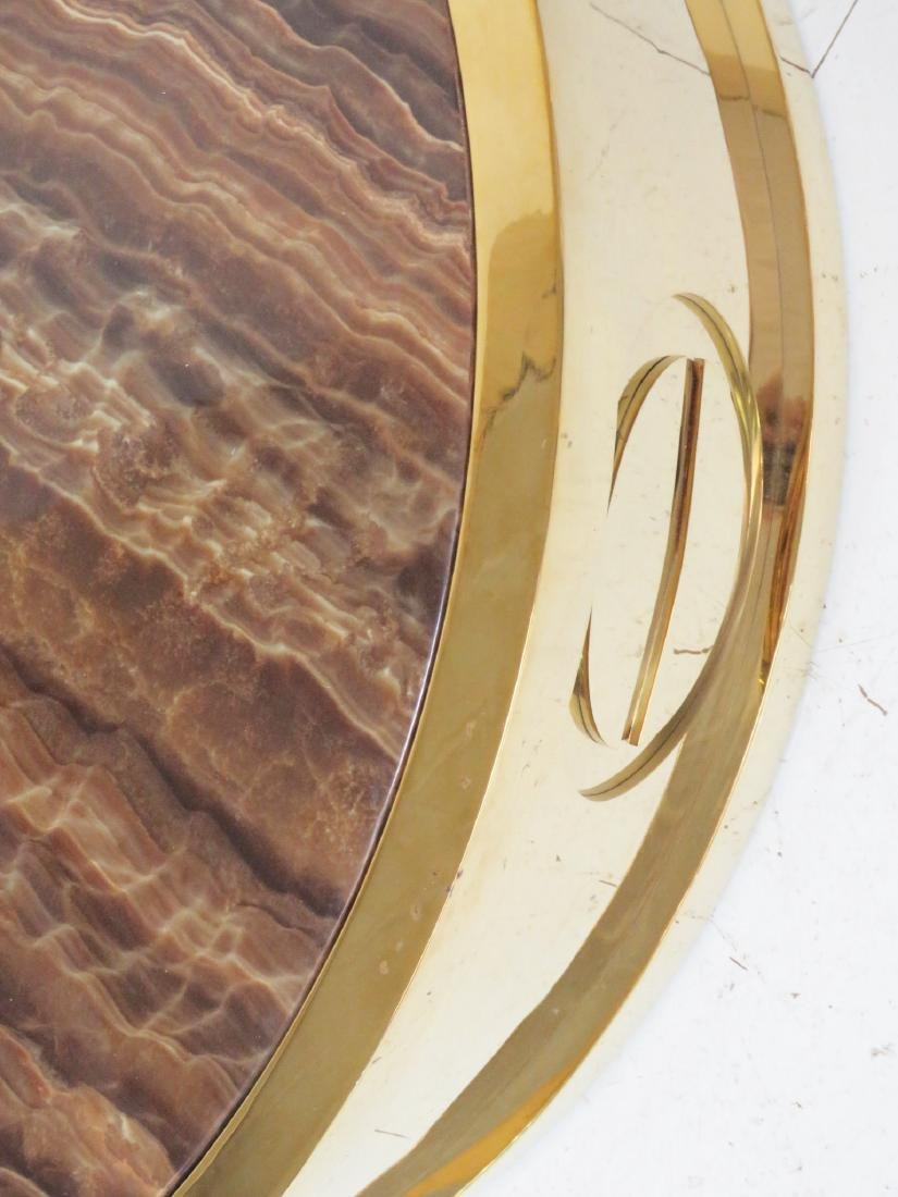 CARTIER STYLE BRASS & TIGER EYE DESIGN COFFEE TABLE - 4