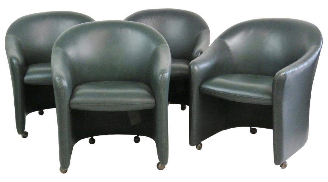 4 HICKORY SEATING GREEN LEATHER ROUNDABOUT CHAIRS