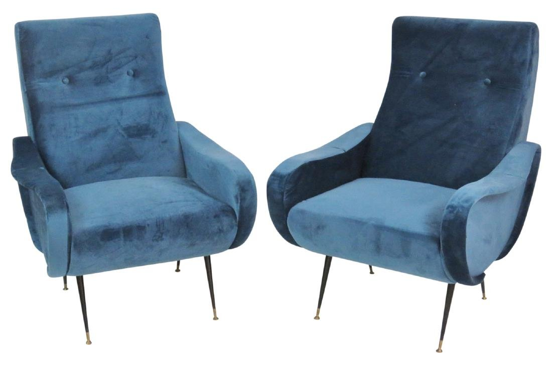 Pair ZANUSO STYLE METAL LEG LOUNGE CHAIRS