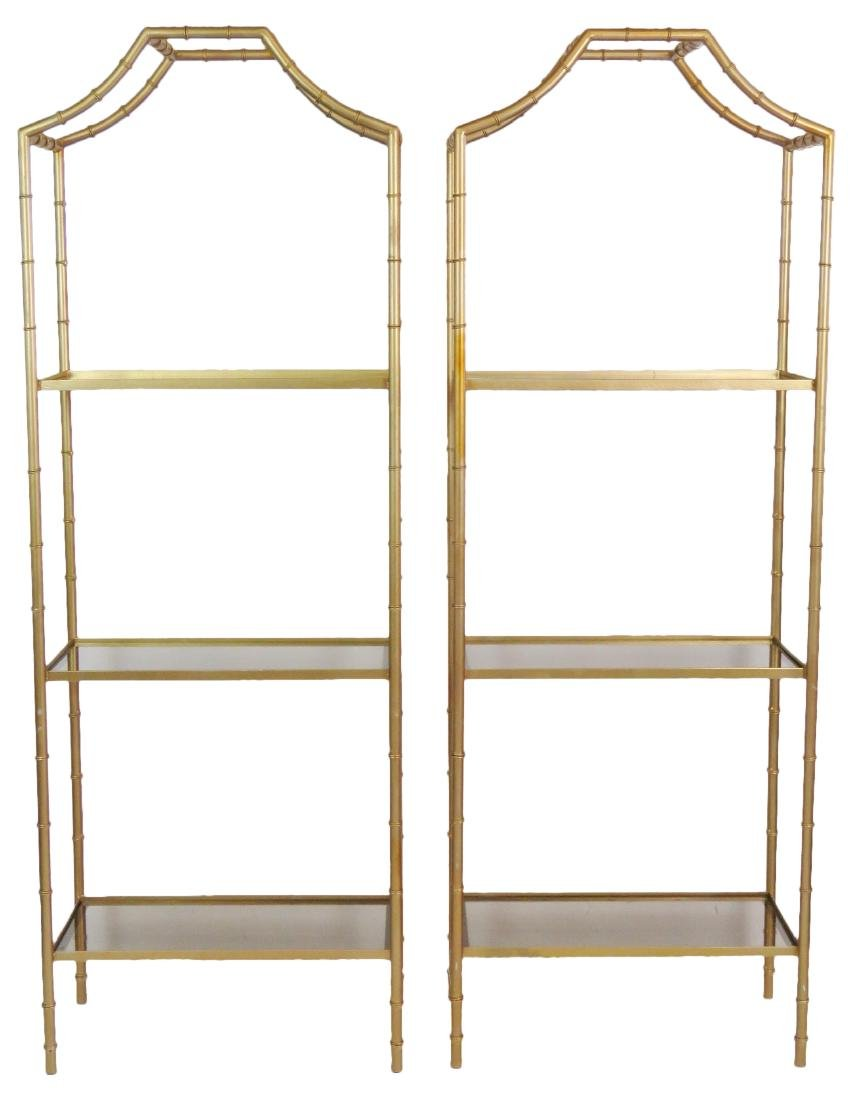 Pair FAUX BAMBOO ETAGERES
