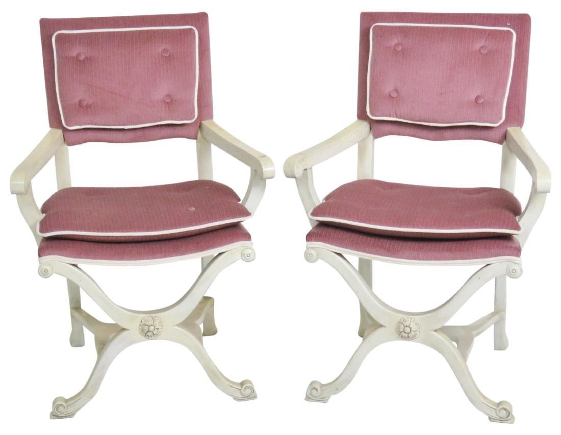 Pair GROSFELD HOUSE STYLE X-CHAIRS