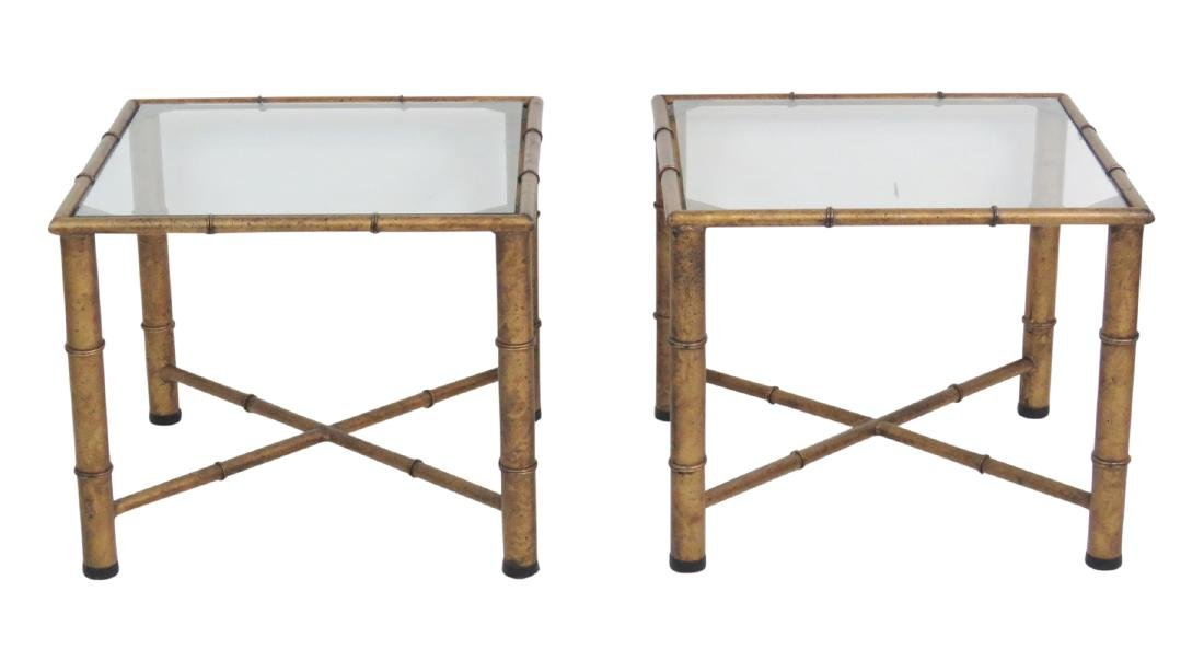 Pair HOLLYWOOD REGENCY STYLE FAUX BAMBOO SIDE TABLES
