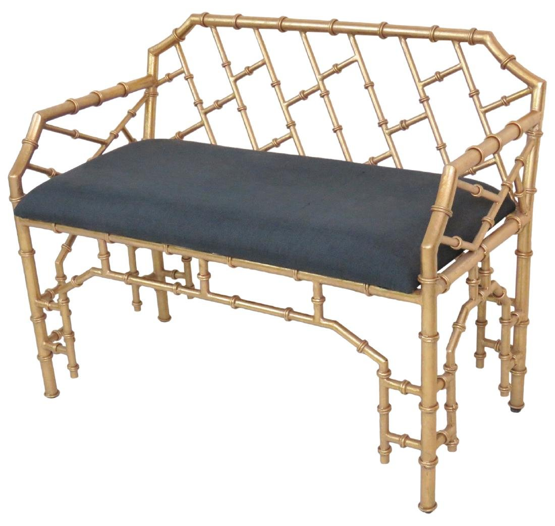 HOLLYWOOD REGENCY STYLE FAUX BAMBOO BENCH