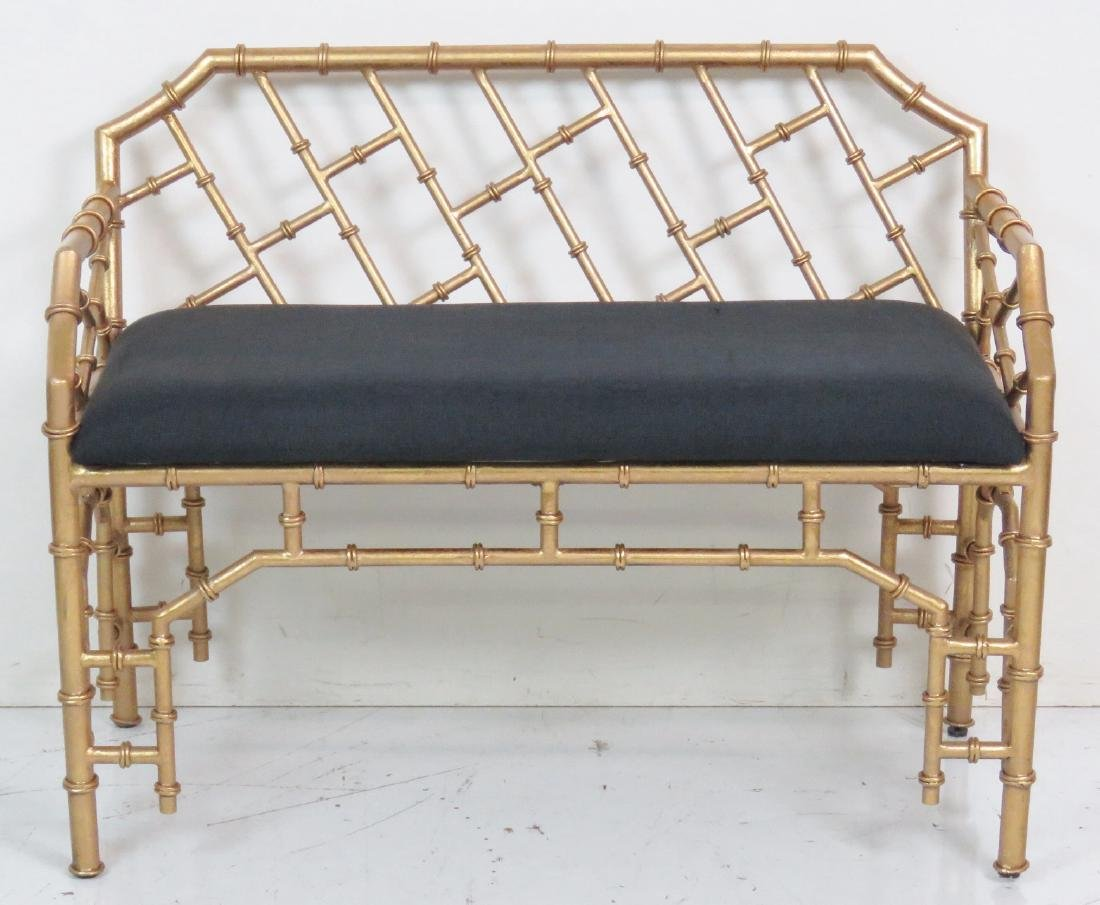 HOLLYWOOD REGENCY STYLE FAUX BAMBOO BENCH - 2