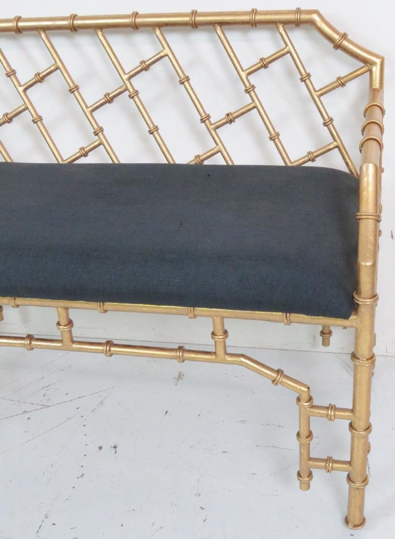 HOLLYWOOD REGENCY STYLE FAUX BAMBOO BENCH - 3