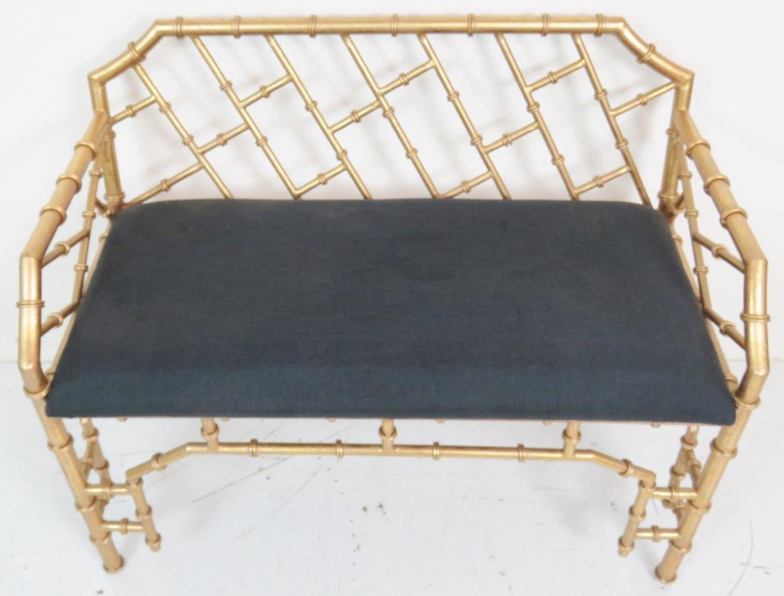 HOLLYWOOD REGENCY STYLE FAUX BAMBOO BENCH - 4