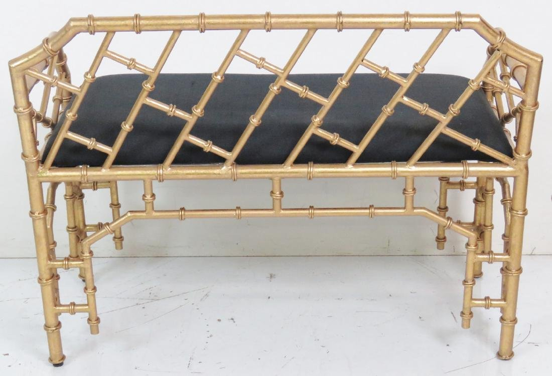 HOLLYWOOD REGENCY STYLE FAUX BAMBOO BENCH - 5