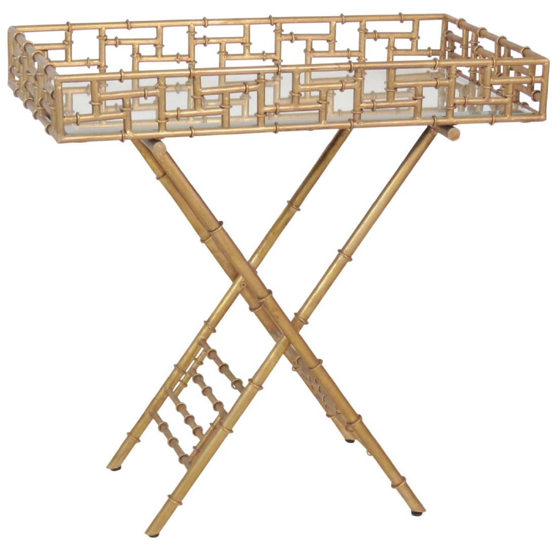 HOLLYWOOD REGENCY STYLE FAUX BAMBOO BUTLERS TABLE