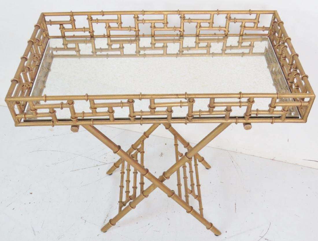 HOLLYWOOD REGENCY STYLE FAUX BAMBOO BUTLERS TABLE - 3