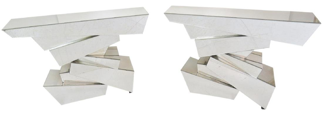 Pair HOLLYWOOD REGENCY STYLE MIRRORED ROCK FORM