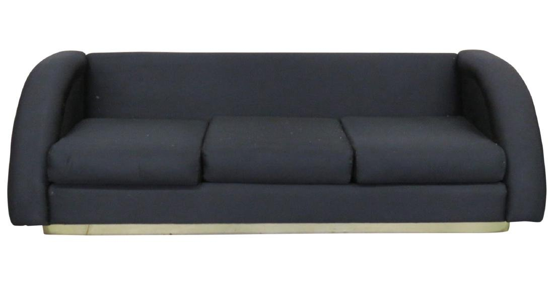 DIRECTIONAL MODERN BLACK UPHOLSTERED & BRASS BASE SOFA