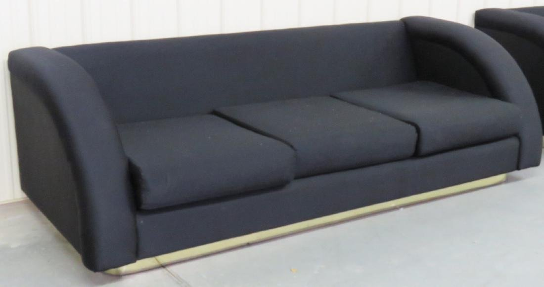 DIRECTIONAL MODERN BLACK UPHOLSTERED & BRASS BASE SOFA - 2