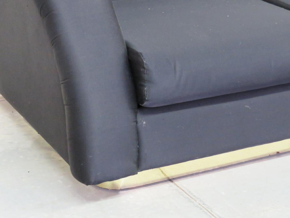 DIRECTIONAL MODERN BLACK UPHOLSTERED & BRASS BASE SOFA - 3