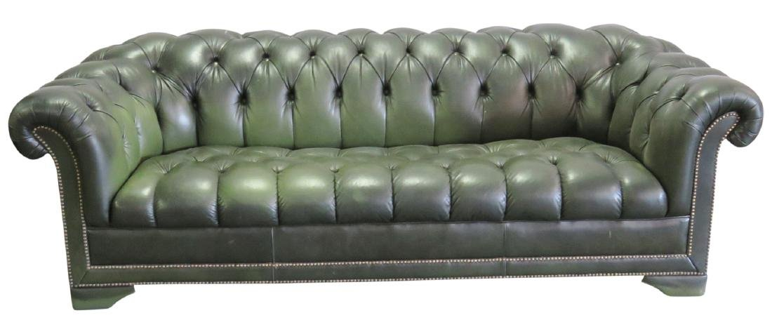 GREEN LEATHER CHESTERFIELD SOFA